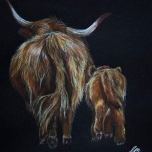 Highland cow print. Mammy and baby
