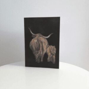 Highland cow, mammy and baby, blank A5 greetings card with envelope