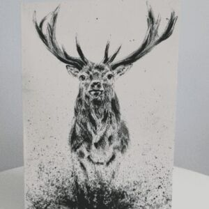 Stag in Heather, Blank A5 Greetings Card
