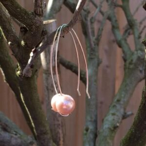 Peachy Pink Shell Pearl Handmade 925 Sterling Silver Minimalist Earrings