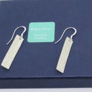 Sterling Silver Embossed Drop Earrings