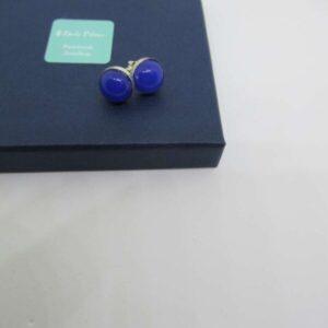 Blue Chalcedony & Sterling Silver Stud Earrings
