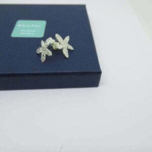 Sterling Silver Embossed Flower Stud Earrings