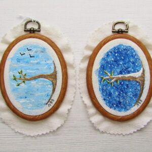 Embroider Hoop Mounted Mixed Media Art - 2 Designs
