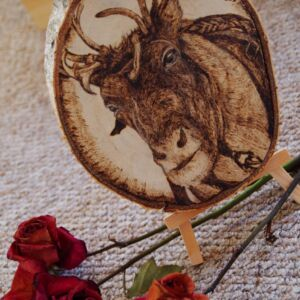 Reindeer on Birch Wood Slice / Handmade pyrography Art / Woodburning Art