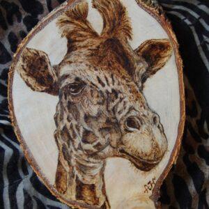 Giraffe on Birch Wood Slice / Handmade pyrography Art / Woodburning Art