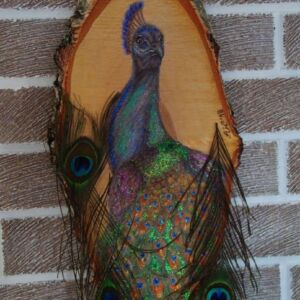 Peacock on Large Wood Slice / Handmade Pyrography / Woodburning Art / Prismacolor Pencils / Glitter / Colored