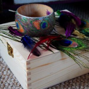 Sycamore Wood Art Jewellery /Peacock Feathers / Hand Decorated Bracelet / Handmade / Pyrography / Woodburning / Unique / Wood