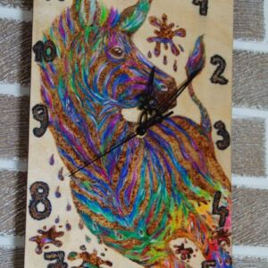 Rainbow Zebra Clock / Hand Painted Birch Plywood/ Handmade Pyrography / Unique / Decorative / Wall Decor / Rectangle / Plaque / Sign / Craft
