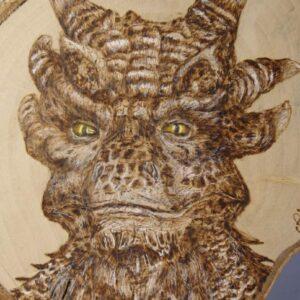 Dragon on Birch Wood Slice / Handmade pyrography Art / Woodburning Art