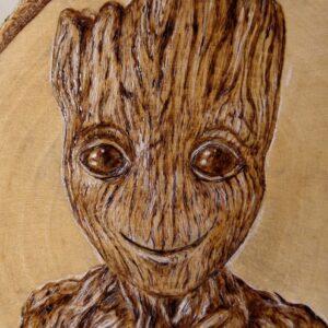 Groot: Guradians of Galaxy on Birch Wood Slice / Handmade pyrography Art / Woodburning