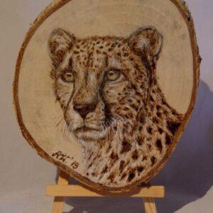 Cheetah on Birch Wood Slice / Handmade pyrography Art / Woodburning Art