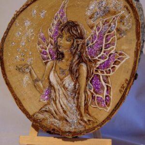 Purple Fairy on wood / Woodburning Art / Handmade pyrography Art