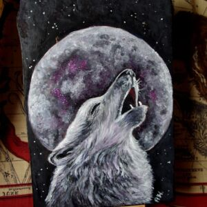 Wolf on Pine Wood Slab / Handmade / Unique / Decorative / Wall Decor / Living Room / Painted Pine / Glitter Active