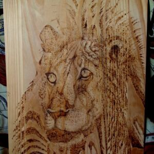 Lion on Pine Wood Slab / Handmade / Pyrography / Woodburning Art / Unique / Decorative / Wall Decor / Living Room / African King of Animals