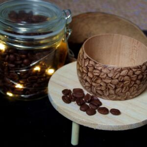 Sycamore Wood Art Jewellery / Coffee /Hand Decorated Bracelet / Handmade / Pyrography / Woodburning / Unique / Wood / coffee beans
