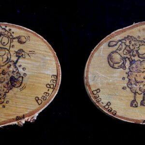 Cartoon sheep on Birch Wood Slice / Handmade pyrography Art / Woodburning Art