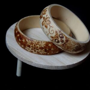 Sycamore Wood Art Jewellery /Hand Decorated Bracelet / Handmade / Pyrography / Woodburning / Unique / Wood/ flowers / owl / snowflakes
