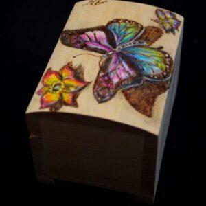Hand Decorated Jewellery Boxes / Jewelry box / Butterfly Box / Basswood / Birch Plywood / Handmade Pyrography / Decorative / craft / box
