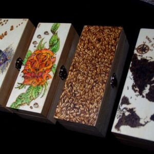 Hand Decorated Jewellery Boxes / Jewelry box / Birch Plywood / Handmade Pyrography / Unique / Decorative / Rectangle / Craft / Box