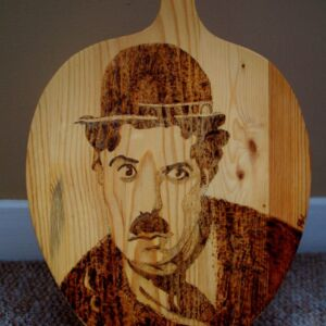Wooden Chopping Board / Charlie Chaplin / Hand Decorated / Handmade / Pyrography / Woodburning / Pine / Kitchen Decor / Cooking / Wood