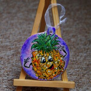 Funky pineapple on ceramic pendant / Hand painted/ Unique / Kitchen / Wall decor / Living Room /Magic / Cartoon