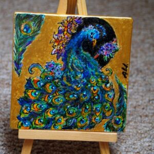 Colourful peacock on ceramic mat (coaster) / Hand painted / Unique / Kitchen / Home decor / Living Room / Magic
