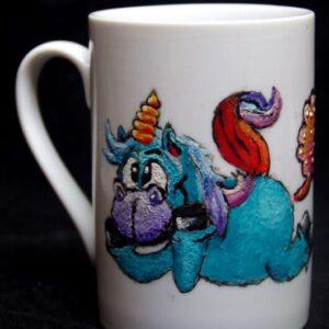 Dreaming unicorn mug / Hand painted / unicorn / Porcelain / Ceramic / Drink ware/ Unique / Kitchen / Home decor / gift / hand made