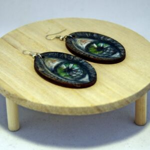 Eyes Woodburning Earrings / Hand Decorated Wooden Jewellery / Plaque / Birch Plywood / Handmade Pyrography / Unique / Decorative