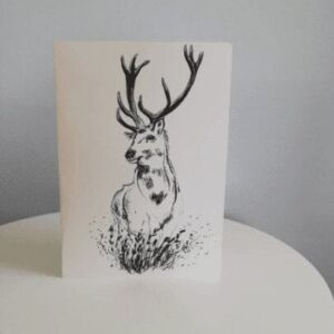 Scottish deer, stag, A5 greetings card.