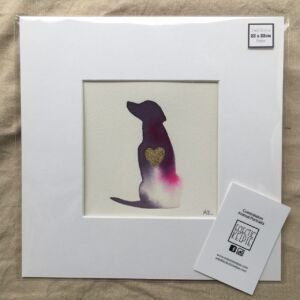 Original Ink Drawing of Dog with Gold Heart Embellishment - Mauve & Pink