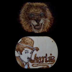 Hand Decorated Plaque / Sign / Birch Plywood / Rectangle /Handmade Pyrography / Unique / Decorative / Wall Decor / Charlie Chaplin / Lion