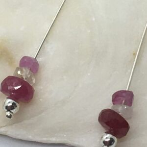 925 Sterling Silver Shaded Ruby Drop Earrings