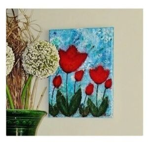 Tulips Awakening - Mixed Media Canvas Art