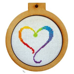 Rainbow Heart Cross Stitch Kit Pendant Stay Safe Lock down Quarantine Hobby