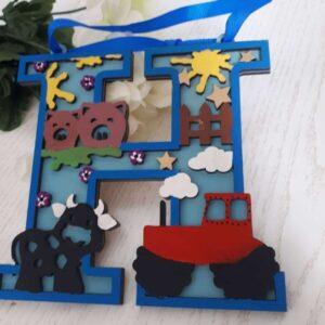 Personalised Initial Door Plaque, Farm Animals Sign, Children's Bedroom Decor, Kids Monogram Letters Wall Hanging Decoration