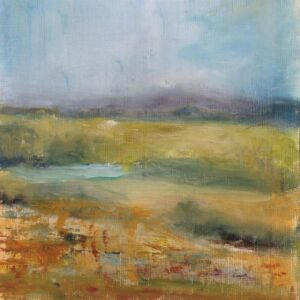 'Misty Malverns 1 - Here Comes the Sun' Oil 6x6in Misty Malvern View 1 - Here Comes the Sun.
