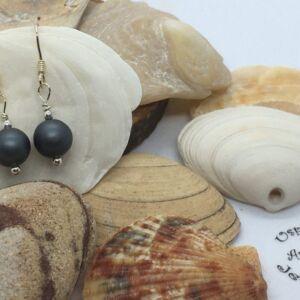 Authentic Handcrafted 925 Sterling Silver Dark Grey Shell Pearl Earrings