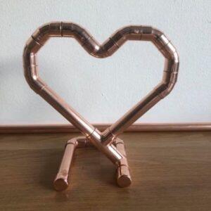 Copper free standing love heart.