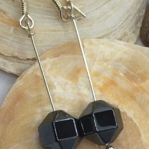 Hematite Minimalist 925 Sterling Silver Handmade Faceted Bicone Earrings