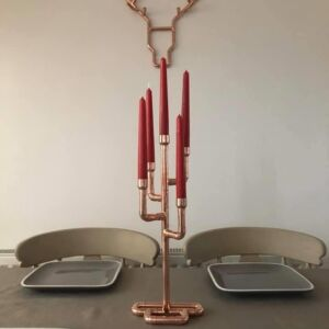 Beautifully handcrafted crafted 5 candlestick holder.