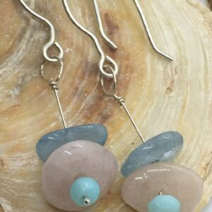Beryl & Sky Blue Opal Gemstone & sterling silver Drop Earrings