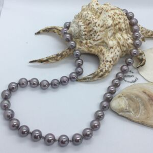 "18"" Lavender Lilac Iridescent Shell Pearl Traditional Silk Knotted Necklace"