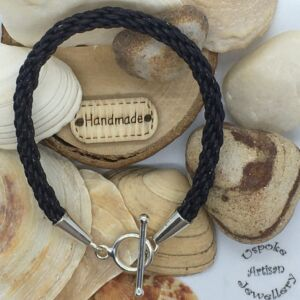 Leather Woven Kumihimo & 925 Toggle Clasp Bracelet