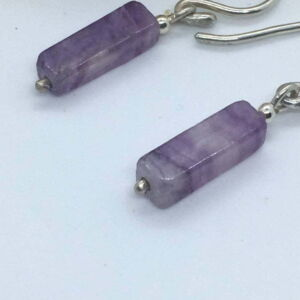 Handmade Fluorite Cuboid Sterling Silver minimalist Earrings