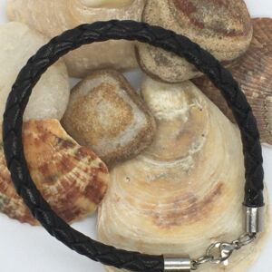 "8"" Black Woven Leather & Steel Lobster Clasp Handmade Unisex Bracelet good value"