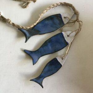 Trio of stoneware fish hanging/ chimes
