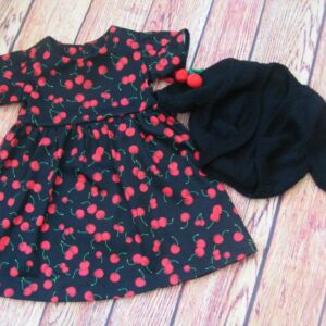 Hand made Cherry dress and bolero|Hand knitted bolero. Toddler age 18-24 months