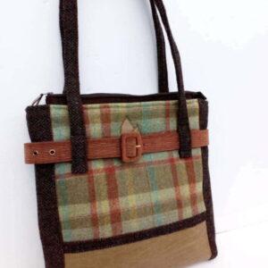 Handmade tweed/leather bag brown big