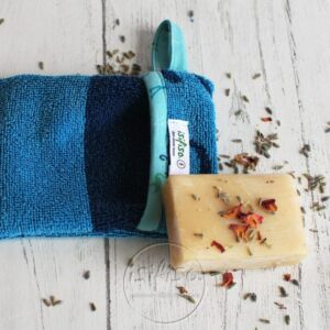 Zero waste Soap mitt - Turquoise and Dark Blue - contrast trim